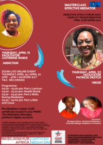 CONFLICT TRANSFORMATION APRIL CLEE SERIES 2021- WASILIANAHUB EFFECTIVE MEDIATOR MASTERCLASS