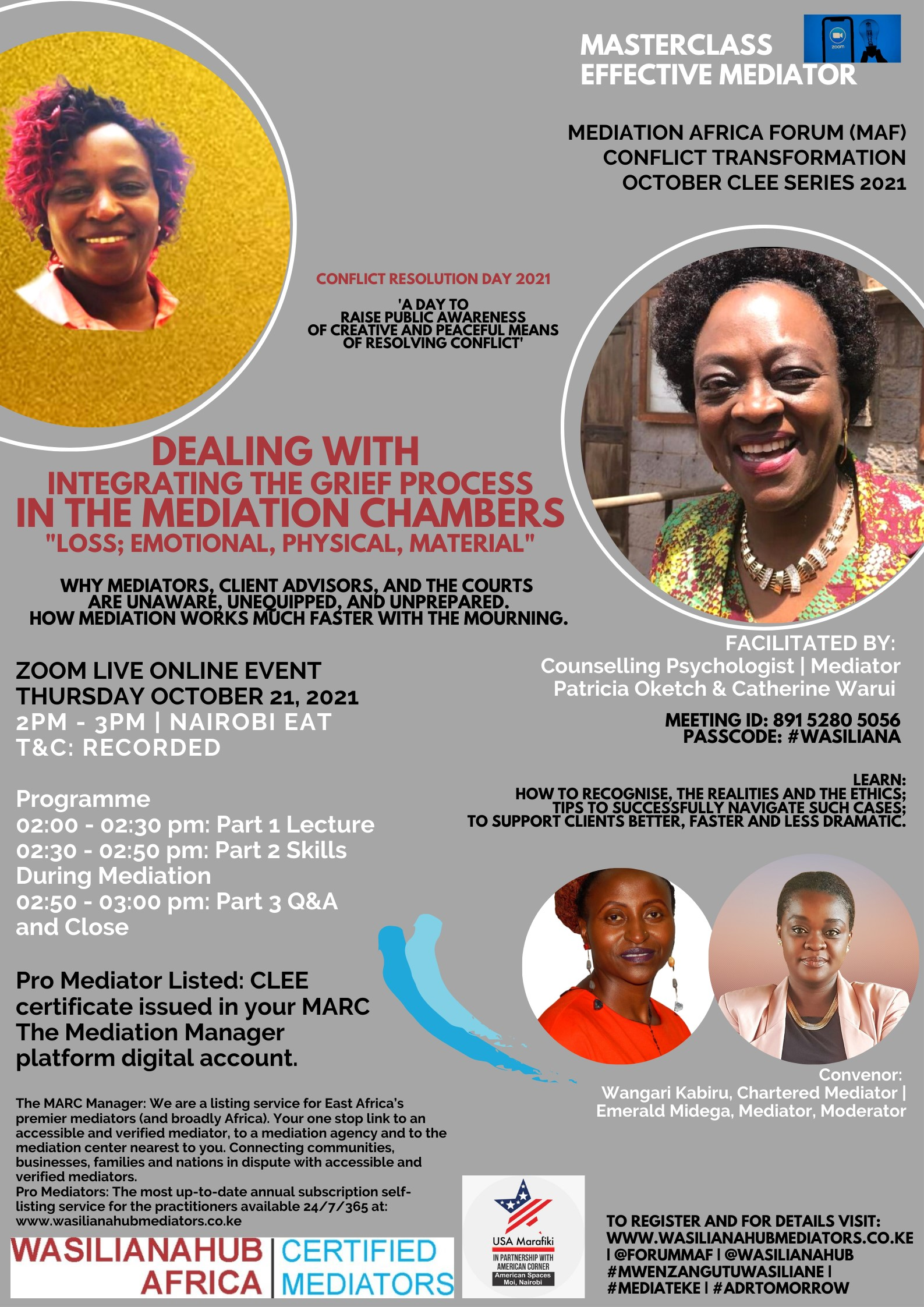WASILIANAHUB-EFFECTIVE-MEDIATOR-MASTERCLASS-ON-GRIEF-WITH-PATRICIA-OKETCH-CATHERINE-WARUI-I-OCT-CLEE-SERIES-2021-CONFLICT-RESOLUTION-DAY-2021